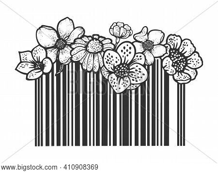 Barcode With Flowers Sketch Engraving Vector Illustration. T-shirt Apparel Print Design. Scratch Boa