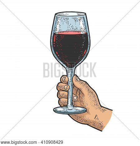 Huge Glass With Wine In Hand Color Sketch Engraving Vector Illustration. T-shirt Apparel Print Desig