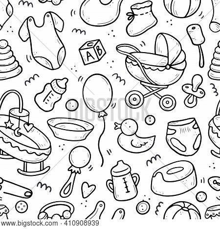 Hand Drawn Seamless Pattern Of Baby Shower Elements, Toy, Ball, Milk Bottle, Sock. Doodle Sketch Sty
