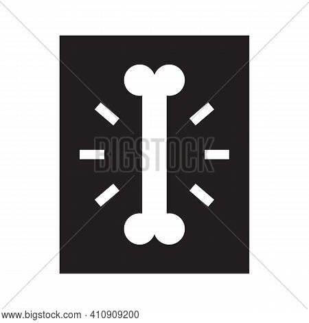 X-ray Photograph Of Humam Bone. X-ray Icon. Flat Vector Isolated On White.