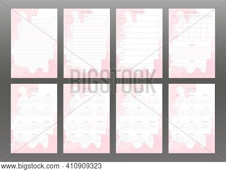2022 2023 2024 2025 Calendar And Daily Weekly Monthly Personal Planner. Light Pink Abstract Spots An