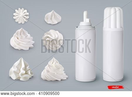 Set Of Whipped Cream Swirls And Whipped Cream Cans On Gray Background. 3d Realistic Vector Illustrat