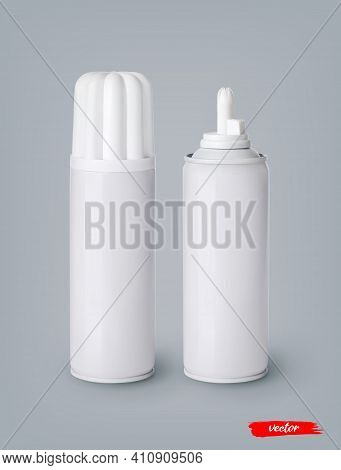Whipped Cream Bottle Cans On Gray Background. 3d Realistic Vector Illustration Of Sweet Dairy Produc