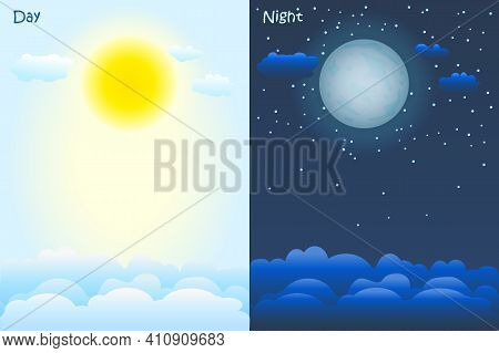 Day And Night Time Concept. Sky Background With Sun, Clouds, Moon And Stars. Poster Or Banners For W