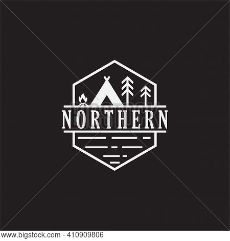 Vintage Camping And Outdoor Adventure Emblems, Logos And Badges. Camp Tent In Forest Or Mountains. C