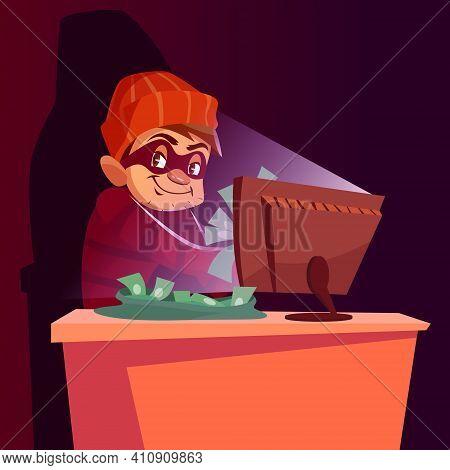 Computer Scammer Vector Illustration Of Internet Hacker Scam. Cartoon Scammer Man Or Internet Thief