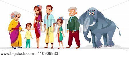 Vector Cartoon Thai Family Asian Characters Set. Happy Thailand Siam Senior Woman, Man Near Elephant