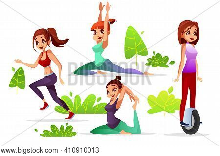 Woman Leisure Vector Illustration Of Young Girl In Park Jogging Or Yoga And Sport Exercise Riding On
