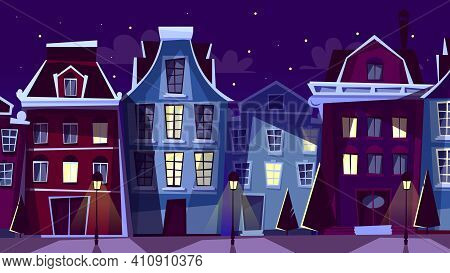 Amsterdam Cityscape Vector Illustration. Cartoon Amsterdam Night Streets And Houses With Window Illu