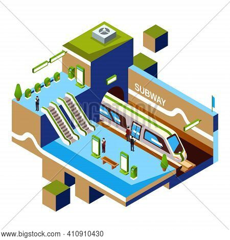 Vector Isometric Subway Station Cross-section Concept. Metro Or Underground Platform Interior Object