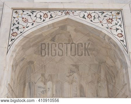 Agra, India - March, 26, 2019: Close Up Of The Front Of The Taj Mahal Mausoleum