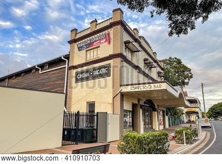 Childers, Australia - February 27, 2021: Facade Of The Paragon Theatre, Built In 1927 In The Town Of