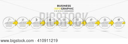 Minimal Business Infographics Template. Timeline With 9 Nine Steps, Options And Marketing Icons .vec