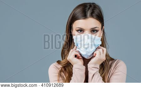 Woman Wearing An Anti Virus Protection Mask. Woman Wearing Medical Face Mask. Girl Wearing Protectiv