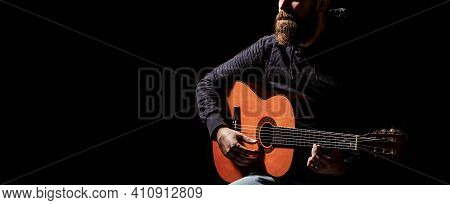 Acoustic Guitars Playing. Music Concept. Guitars Acoustic. Live Music. Mans Hands Playing Acoustic G