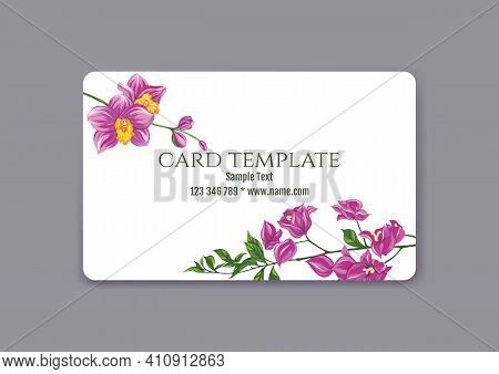 Plastic Debit Or Credit, Pass, Discount, Membership Card Template With Tropical Plants In Natural Co