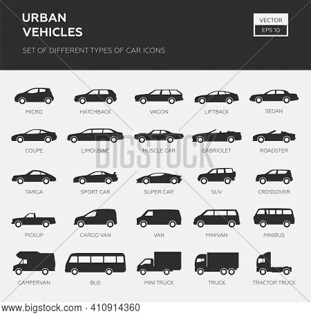 Car Type And Model Objects Icons Set .vector Black Illustration Isolated On White Background. Varian