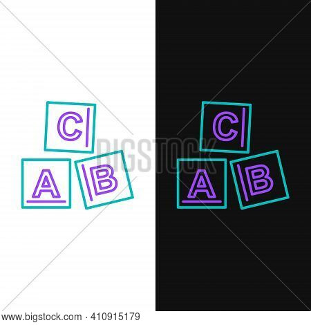 Line Abc Blocks Icon Isolated On White And Black Background. Alphabet Cubes With Letters A, B, C. Co