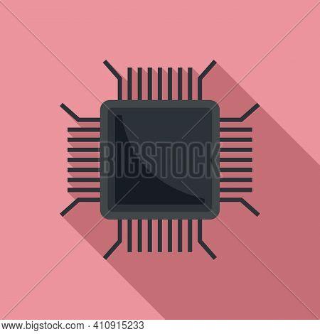Nanotechnology Pc Microchip Icon. Flat Illustration Of Nanotechnology Pc Microchip Vector Icon For W