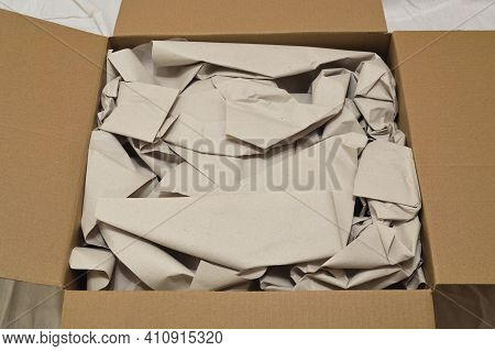 Packaging Paper In Open Box Close Up.
