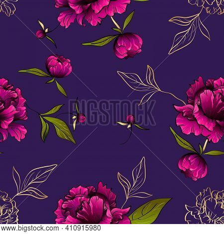 Seamless Vector Pattern With Gorgeous Purple Peony Flowers And Green Leaves On Deep Violet Backgroun