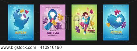 World Autism Awareness Day Posters. Vector Set Of Flyers With Cartoon Illustrations Of Happy Boy, Ch