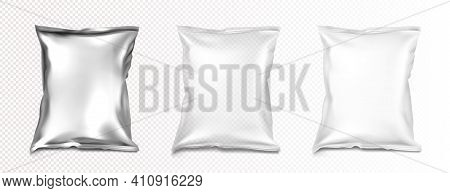 Foil And Plastic Bags Mockup, Blank White, Transparent And Silver Metallic Colored Pillow Packages F
