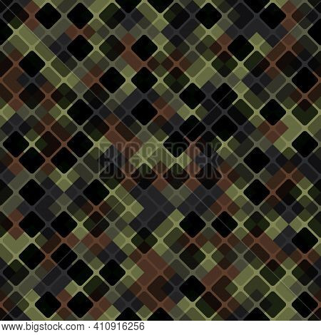 Vector Patchwork Background With Brown Khaki And Olive Tiles Geometric Ornament