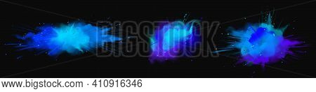 Explosions Of Blue Powder, Paint Dust With Particles. Vector Realistic Set Of Colored Ink Splashes,