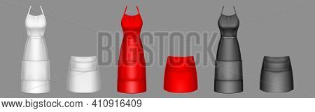 Chef Aprons, Black, Red And White Cook Uniform 3d Vector Mockup. Kitchen Female Long And Short Bibs