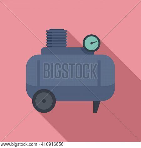 Air Compressor Pneumatic Icon. Flat Illustration Of Air Compressor Pneumatic Vector Icon For Web Des