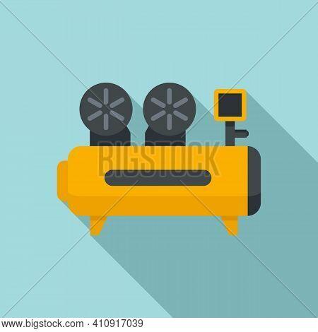 Cylinder Air Compressor Icon. Flat Illustration Of Cylinder Air Compressor Vector Icon For Web Desig