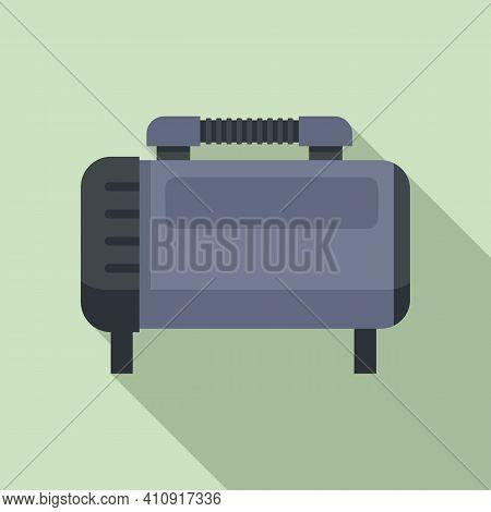 Motor Air Compressor Icon. Flat Illustration Of Motor Air Compressor Vector Icon For Web Design