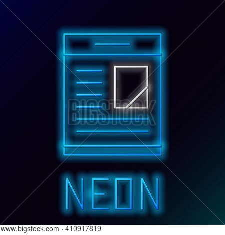 Glowing Neon Line Newspaper Advertisement Displaying Obituaries Icon Isolated On Black Background. C