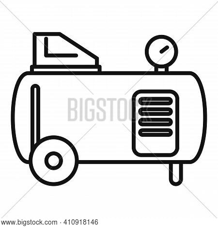 Tank Air Compressor Icon. Outline Tank Air Compressor Vector Icon For Web Design Isolated On White B