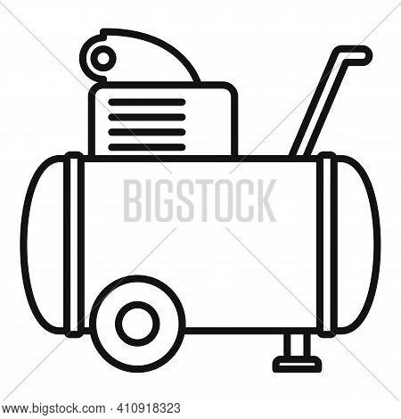 Machine Air Compressor Icon. Outline Machine Air Compressor Vector Icon For Web Design Isolated On W