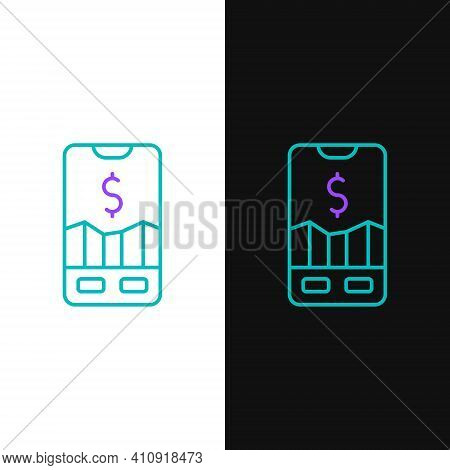 Line Mobile Stock Trading Concept Icon Isolated On White And Black Background. Online Trading, Stock