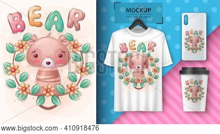 Cute Bear Poster And Merchandising. Vector Eps 10