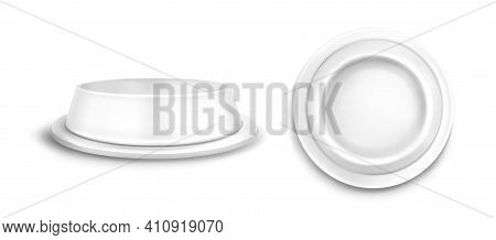 Pet Bowl Mockup Front And Top View. Blank Plastic Or Metal Plate For Animal Feed Isolated On White B