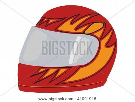 Vector A Red Racing Helmet