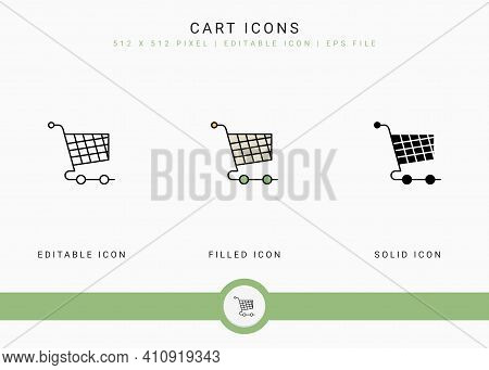 Cart Icons Set Vector Illustration With Solid Icon Line Style. Online Store Retail Concept. Editable
