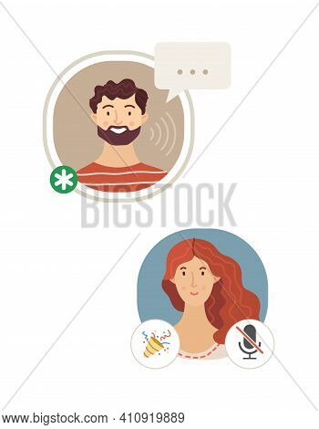 Man and woman talking in Clubhouse application flat vector illustration. Audio chat conversation. Voice messages. Social network app for cell phones. Cartoon avatars