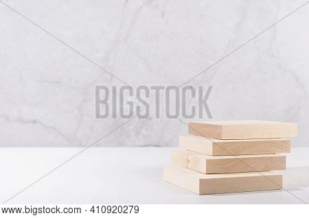 Beige Natural Cube Podium With Stairs In White And Grey Marble Interior With Sun Light And Shadow. S