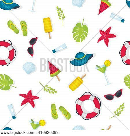 A Pattern Of Summer Elements On A White Background Isolated, A Seamless Pattern Of Summer Theme, A B