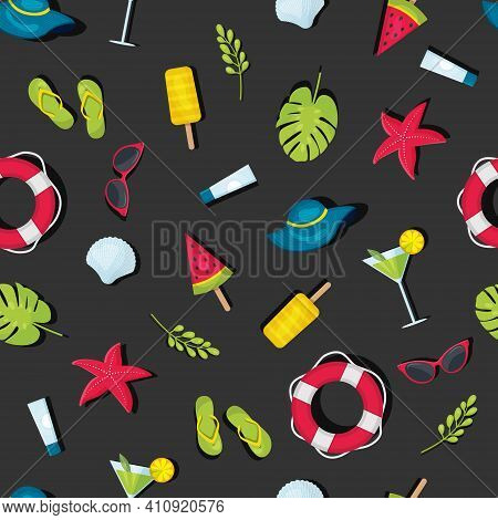 A Pattern Of Summer Elements On A Dark Background Isolated, A Seamless Pattern Of Summer Theme, A Br