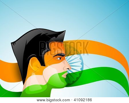 Indian man face painted in Indian Flag trio colors. EPS 10.