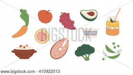 Set Of Healthy Organic Food With Fruits, Vegetables, Porridge And Drink. Colored Icons Of Avocado, S