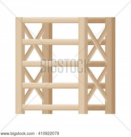 Wooden Shelving, Showcase Empty In Cartoon Style, Textured And Detailed Isolated On White Background
