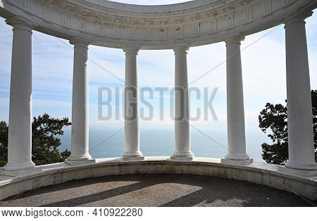 Old Colonnade With Seascape View On The Tsars Path In Yalta In The Republic Of Crimea, Russia. Crime