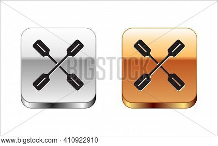 Black Paddle Icon Isolated On White Background. Paddle Boat Oars. Silver-gold Square Button. Vector